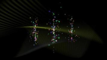 Partícula colorida abstracta sobre fondo negro