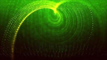 Abstract green glowing spiral particles
