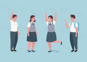 group of happy students vector
