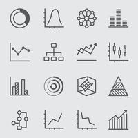 Graph and Diagram 1 line icon set vector