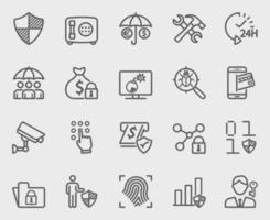 Insurance and Security line icon set vector