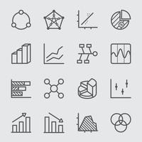 Graph and Diagram line icon set vector