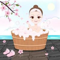 Beautiful woman bathing in the cherry blossoms vector