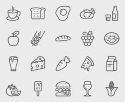 conjunto de iconos de línea de comida y bebida vector