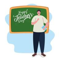 happy teachers day, with teacher and chalkboard