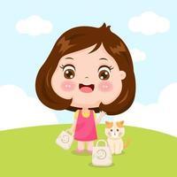 niña y gato con bolsas de tela