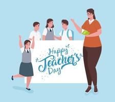 happy teachers day, with teacher and group of students vector