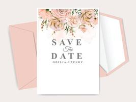 beautiful floral hand drawn wedding invitation card vector