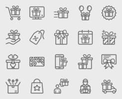 Gift line icon set vector
