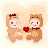 Children with red heart vector
