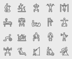 Exercise with equipment line icon set vector
