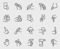 Hand activity line icons set vector