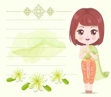 Cute girl wearing Thai green dress vector