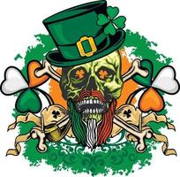 St.Patric skull with green hat, grunge vintage design t shirts vector