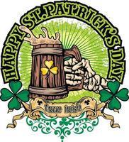 St.Patrick day, skeletons arm, grunge vintage design t shirts vector