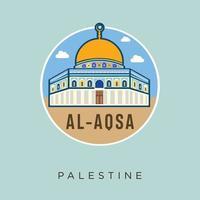 mezquita al - aqsa palestina jerusalén diseño plano vector stock. Palestina viajes y atracciones, monumentos, turismo, cultura tradicional y religión