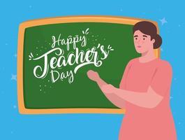 happy teachers day, with teacher and chalkboard vector