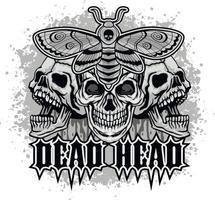 polilla halcón de cabeza de muerte y cráneo, camisetas de diseño vintage grunge