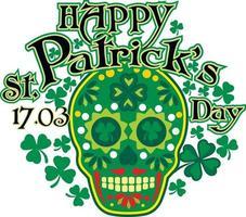 St.Patrick skull with green hat, grunge vintage design t shirts vector