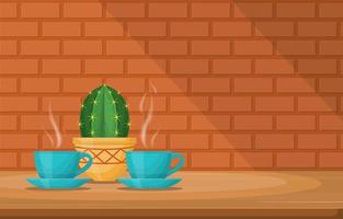Cups of Hot Drink with a Cactus on a Table by a Brick Wall vector