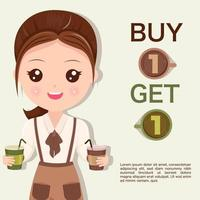 Staff woman recommends coffee promotion vector