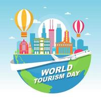 Chicago Illinois Skyline on Globe, World Tourism Day vector