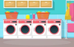 Laundromat with Washing Machines and Baskets