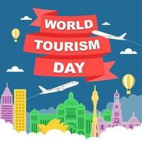 Sydney Australia Skyline on Globe, World Tourism Day vector