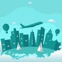 horizonte de china de la ciudad de xian en el mundo, día mundial del turismo vector