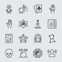 Psychic fortune teller line icons set vector