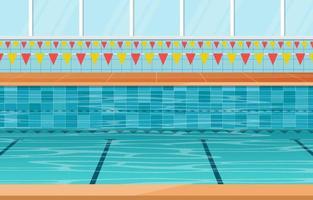 piscina con carriles y pancartas vector