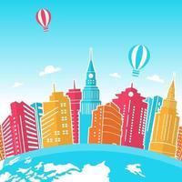 horizonte de rascacielos en el mundo, día mundial del turismo vector