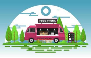Food Truck in Park Illustration vector