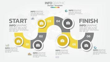 Infograph 6 step yellow color element with arrow, chart diagram, business online marketing concept.