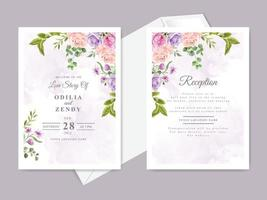 beautiful floral wedding invitation card template vector