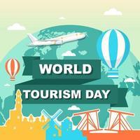 Amsterdam Países Bajos horizonte en el mundo, día mundial del turismo vector