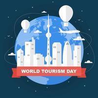 horizonte de china de beijing en el mundo, día mundial del turismo vector