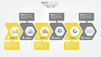 Infograph 6 step color element with arrow, chart diagram, business online marketing concept. vector