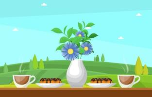 Cups of Tea with Desserts and Vase of Flowers on a Table with a Nature View vector