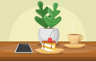 Coffee, Cake and Phone on Table vector