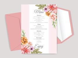 beautiful floral hand drawn wedding invitation card vector