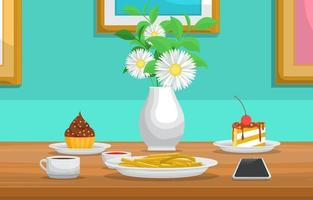 Desserts and Flowers on Table in Cafe vector