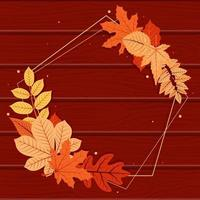 Autumn Season Decorative Frame in Pentagon Shape with Red and Yellow Leaves vector
