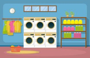 Laundromat with Washing Machines and Racks