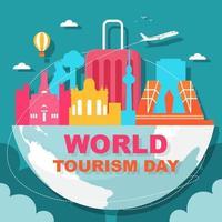 madrid españa, ilustración del día mundial del turismo vector