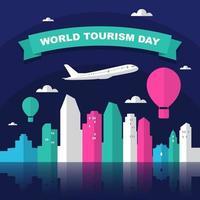 horizonte de san diego california en el mundo, día mundial del turismo vector