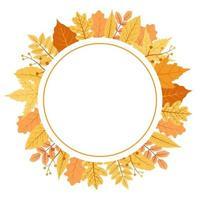 hojas de otoño rojas y amarillas en ramo de marco circular vector