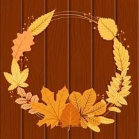 Autumn Season Decorative Frame in Circular Shape with Red and Yellow Leaves vector