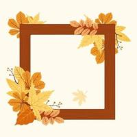 Autumn Season Decorative Graphic Frame with Red and Yellow Leaves vector