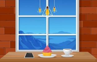 café y bocadillos en el restaurante con ilustración de vista a la montaña vector